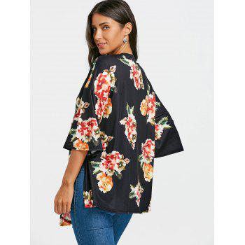 Floral Printed Drop Shoulder Side Slit Cardigan - BLACK BLACK