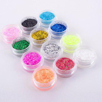 Professional 12 Colors 3D Nail Art DIY Glitter Acrylic Stripes Powder - multicolor
