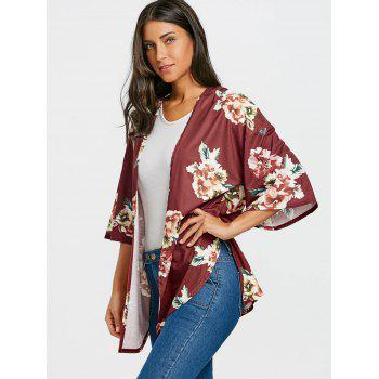 Floral Printed Drop Shoulder Side Slit Cardigan - BORDEAUX XL