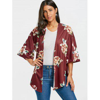 Floral Printed Drop Shoulder Side Slit Cardigan - BORDEAUX M