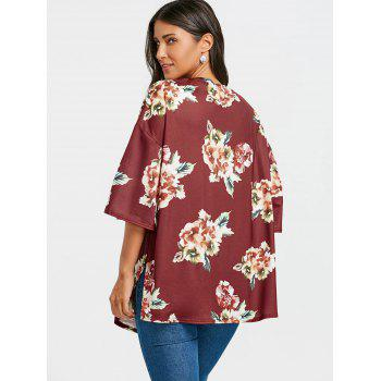 Floral Printed Drop Shoulder Side Slit Cardigan - BORDEAUX S