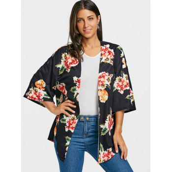 Floral Printed Drop Shoulder Side Slit Cardigan - BLACK S