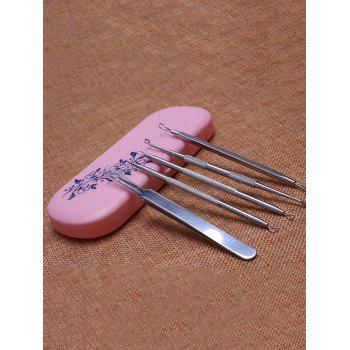 Professional 5Pcs Stainless Steel Blackhead Acne Extractor Tools - PINK