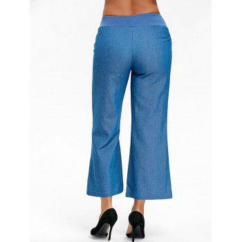 High Waist Wide Leg Chambray Pants - BLUE M