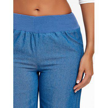 High Waist Wide Leg Chambray Pants - BLUE XL