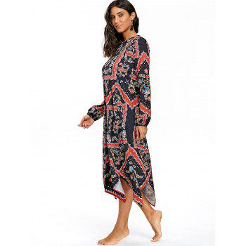 Asymmetrical Half Button Floral Print Dress - COLORMIX COLORMIX