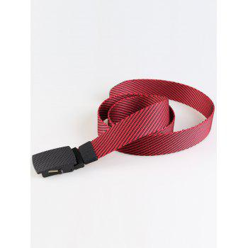 Simple Metal Buckle Stripe Pattern Decorated Army Canvas Belt - RED