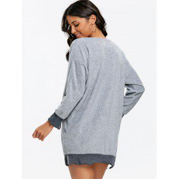 Fleece V Neck Tunic Sweatshirt - GRAY XL