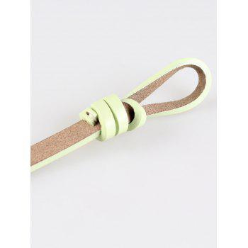 Vintage Knotted Decorated Artificial Leather Skinny Belt - LIGHT GREEN