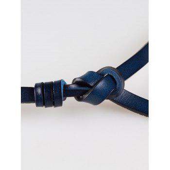 Vintage Knotted Decorated Artificial Leather Skinny Belt - CERULEAN
