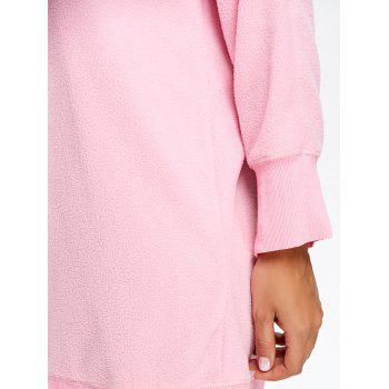 Fleece V Neck Tunic Sweatshirt - PINK XL