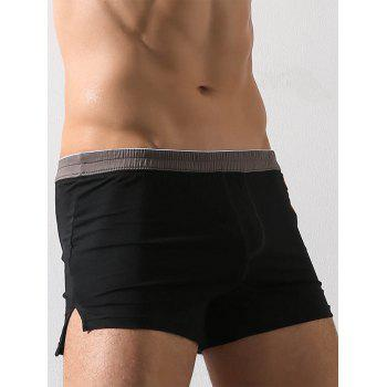 Graphic Embroidery Elastic Waist Boxer Brief - BLACK BLACK