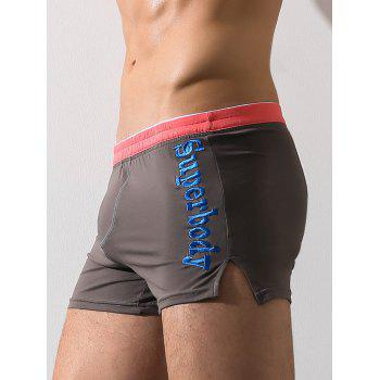 Graphic Embroidery Elastic Waist Boxer Brief - GRAY M