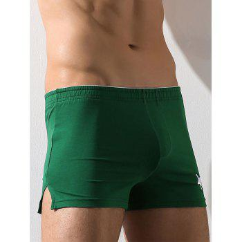 Embroidery Elastic Waist Boxer Brief - GREEN GREEN