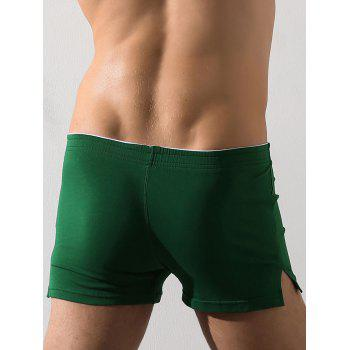 Embroidery Elastic Waist Boxer Brief - GREEN L