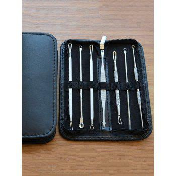 Multifunctional 7Pcs Stainless Steel Blackhead Acne Extractor Tool - BLACK