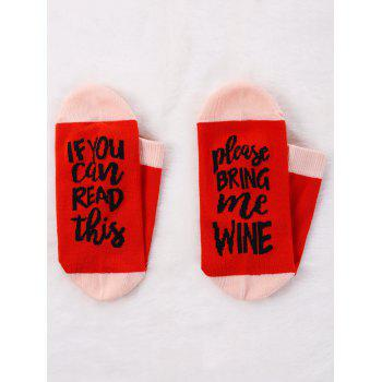 Pair Of Contrast Letter Printed Graphic Socks - RED RED
