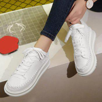 Round Toe Platform Skate Shoes - WHITE 39