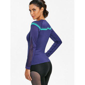Sports Openwork Long Sleeve Bicycle T-shirt - BLUISH VIOLET L