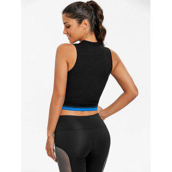 Sports Mock Neck Criss Cross  Crop Top - BLACK M