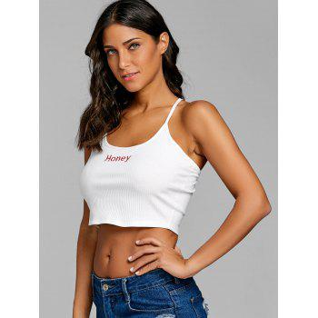 Criss Cross Honey Embroidery Crop Cami Top - WHITE L