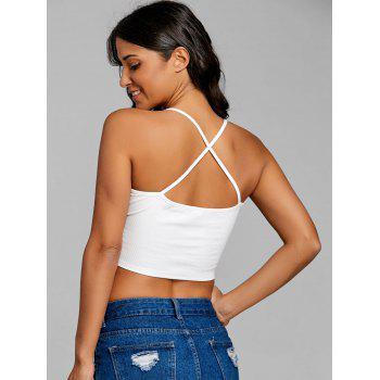 Criss Cross Honey Embroidery Crop Cami Top - WHITE M