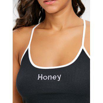 Criss Cross Honey Embroidery Crop Cami Top - BLACK BLACK