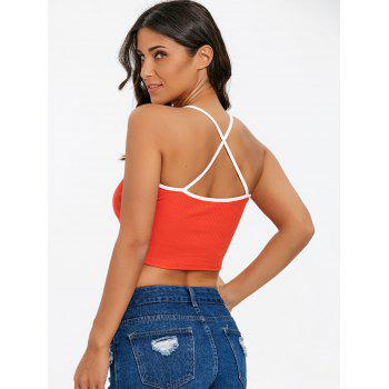 Criss Cross Honey Embroidery Crop Cami Top - RED XL