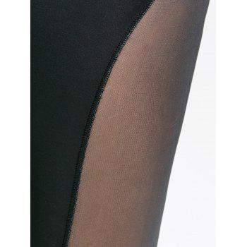 Sports See Through Mesh Panel  Leggings - BLACK M