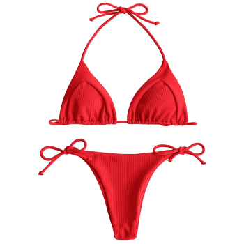 Ribbed Halter String Bikini Set - RED M