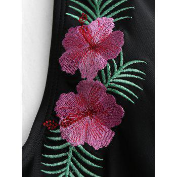 One Piece Backless Embroidery Swimsuit - BLACK BLACK