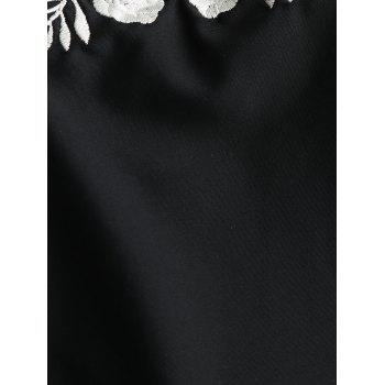 Embroidery High Leg One Piece Backless Swimsuit - BLACK BLACK