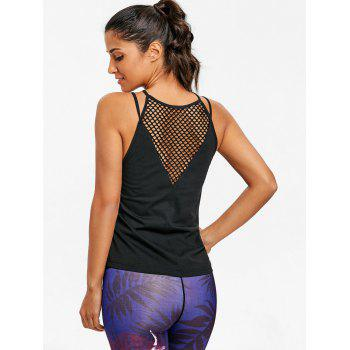 Sports  Openwork Fishnet Tank Top - BLACK S