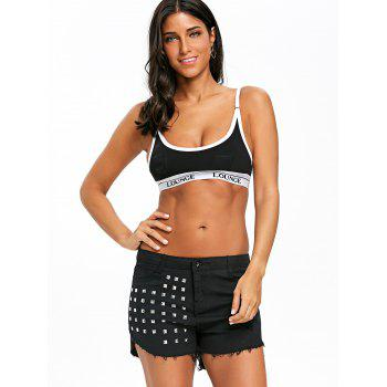 Rivet Frayed Denim Shorts - BLACK XL