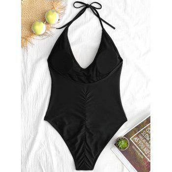 One Piece Backless Embroidery Swimsuit - BLACK M