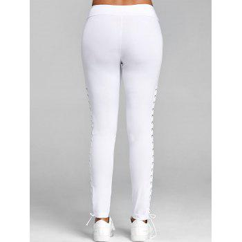 Lace Up Elastic Waist Leggings - WHITE L