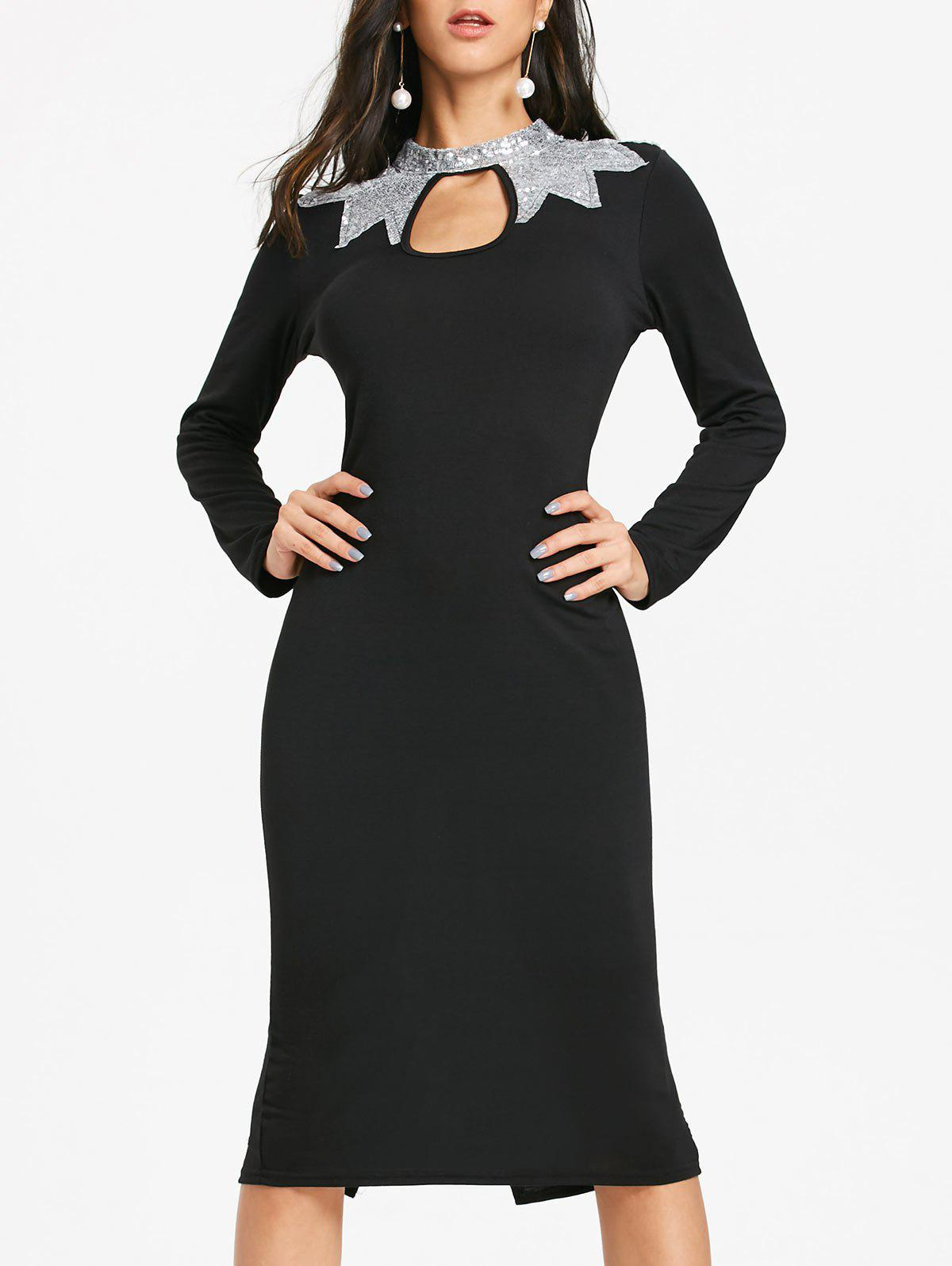 Sequins Long Sleeve Keyhole Pencil Dress - BLACK L