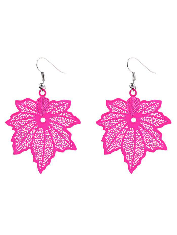 Maple Leaf Hook Earrings - ROSE RED