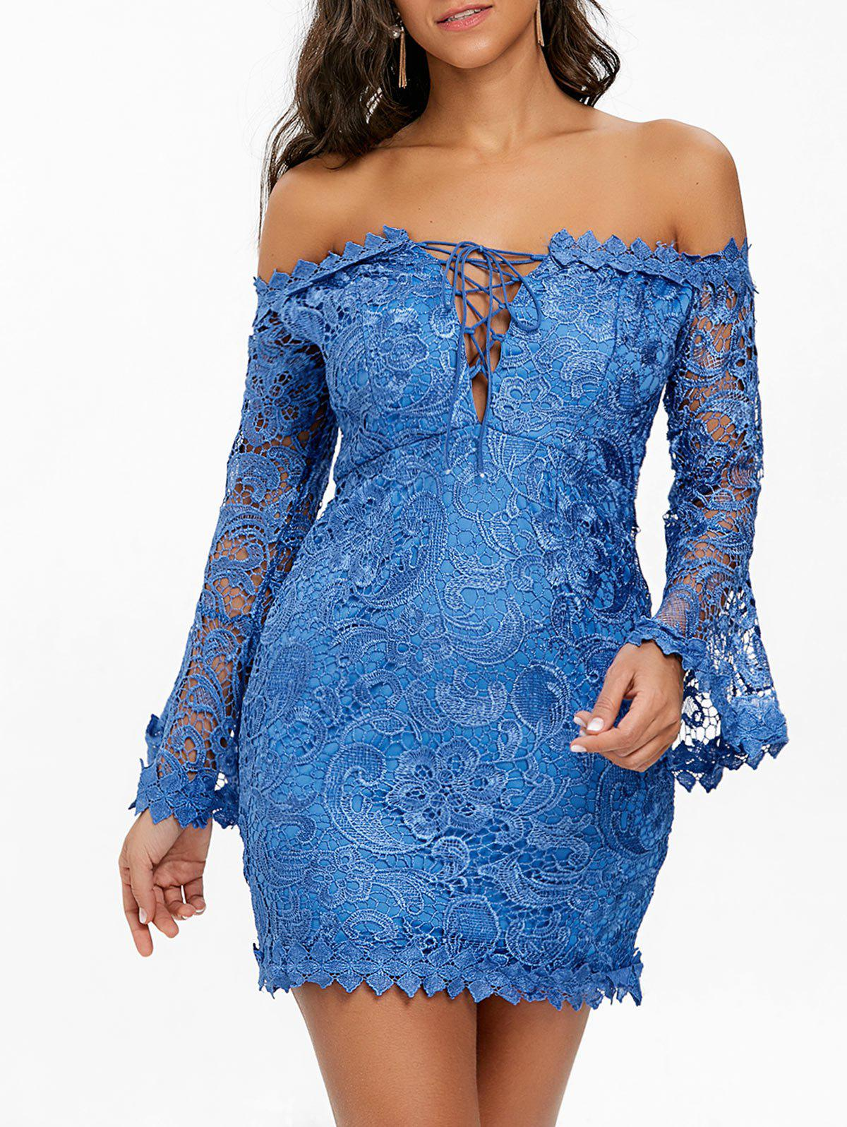 Lace Off The Shoulder Mini Dress - BLUE M