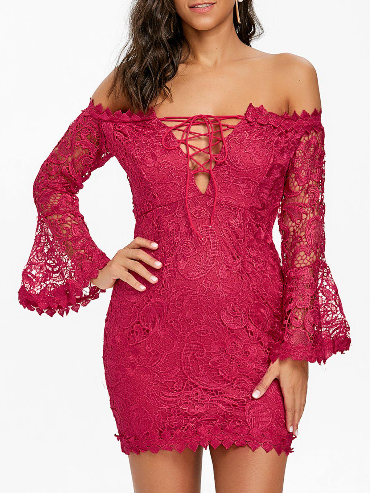Lace Off The Shoulder Mini Dress - BURGUNDY M