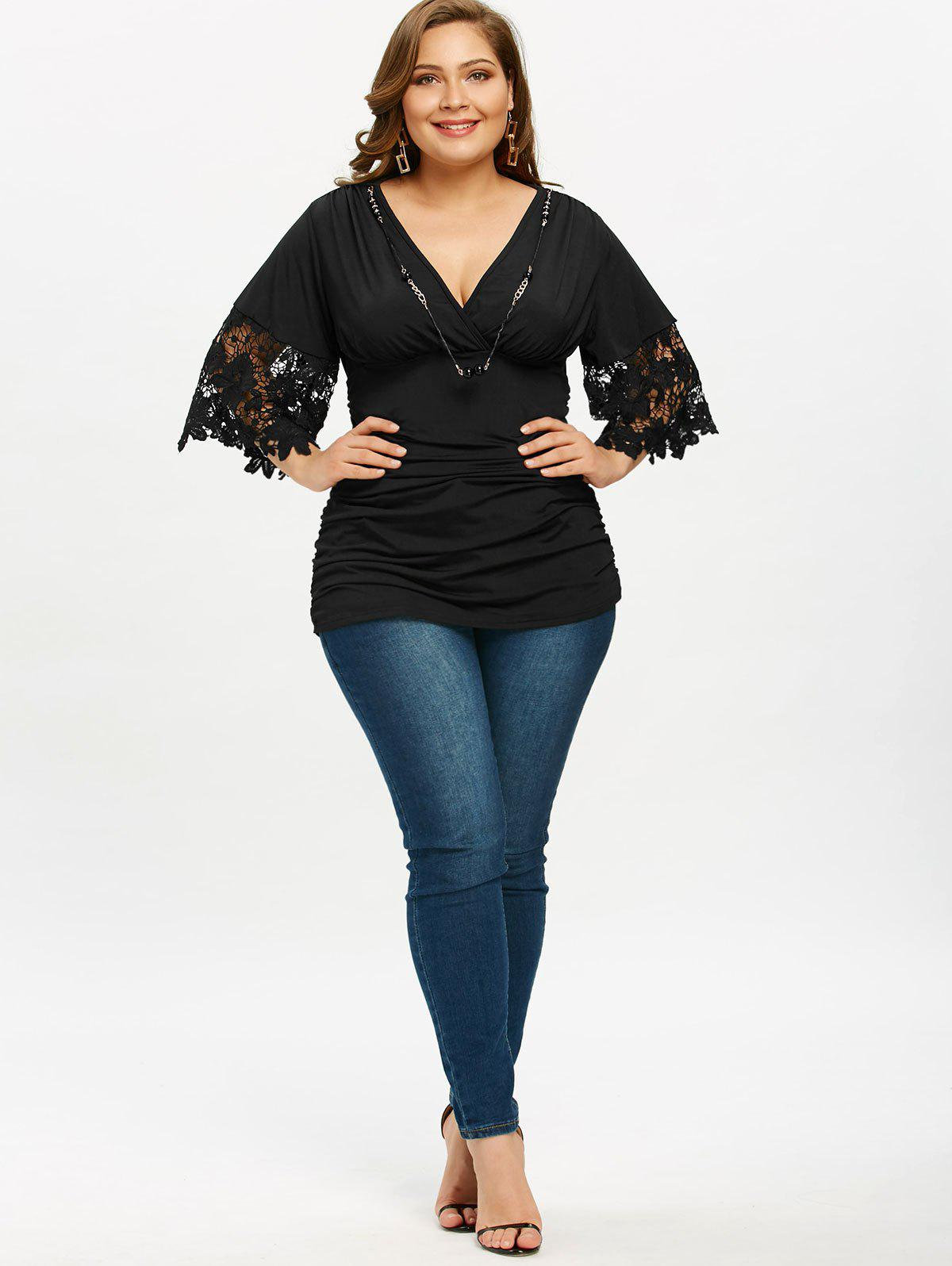 2018 empire waist plus size ruched t shirt with necklace for Empire waist t shirt dress