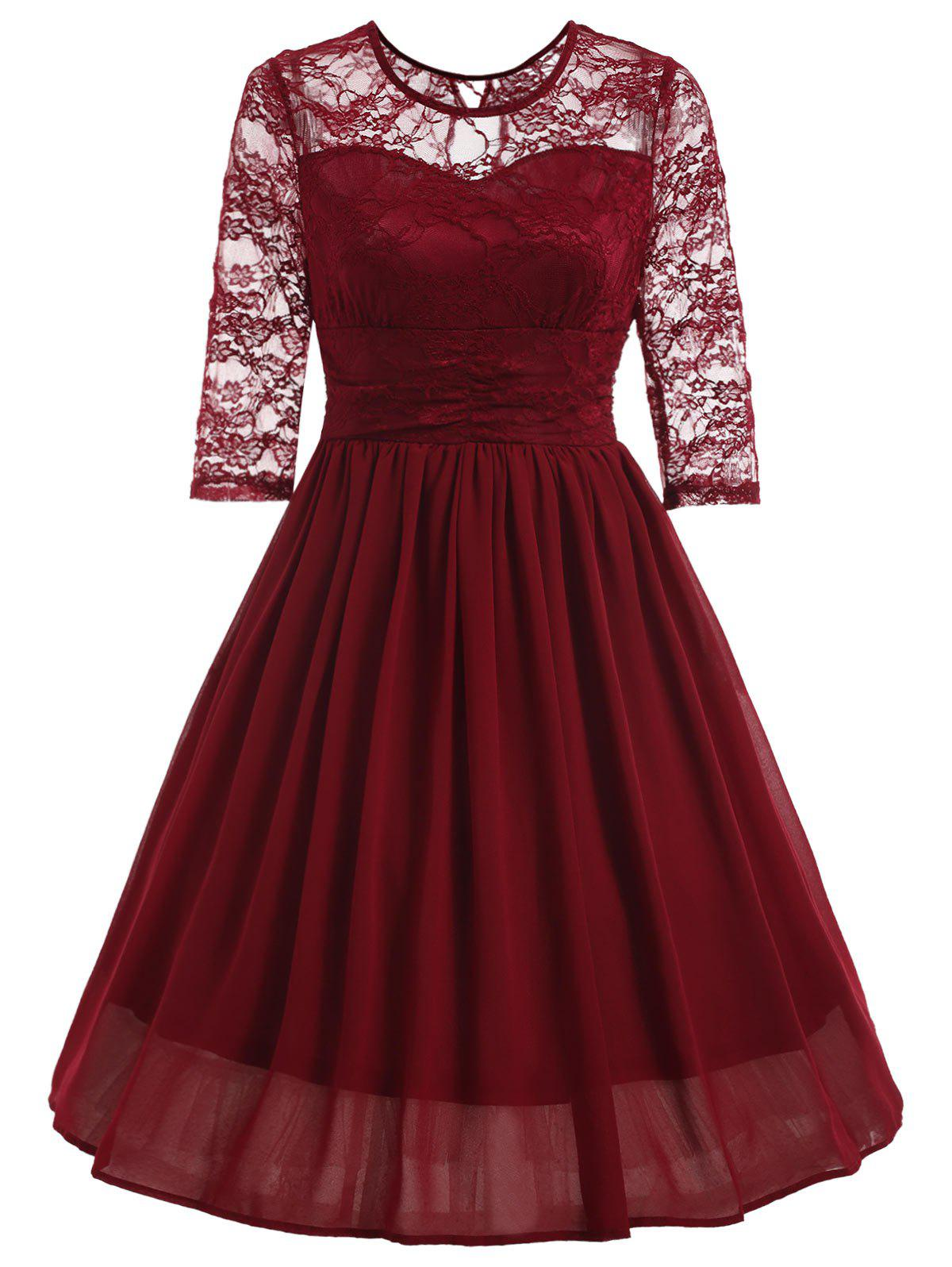 Vintage Lace Insert Fit and Flare Dress lace overlay fit and flare dress