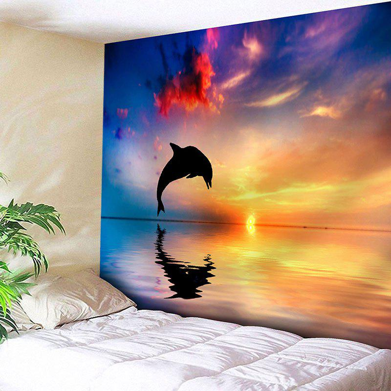 Sunset Jumping Dolphin Print Wall Art Tapestry sunset park