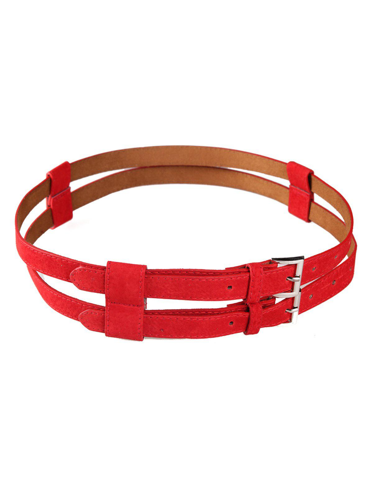 Retro Hollow Out Pattern Embellished Double Waist Belt - RED
