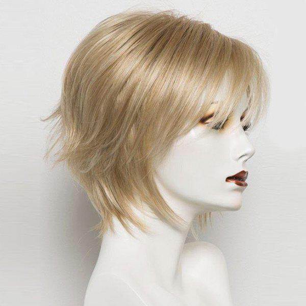 Short Inclined Bang Straight Real Human Hair Wig - LIGHT GOLD