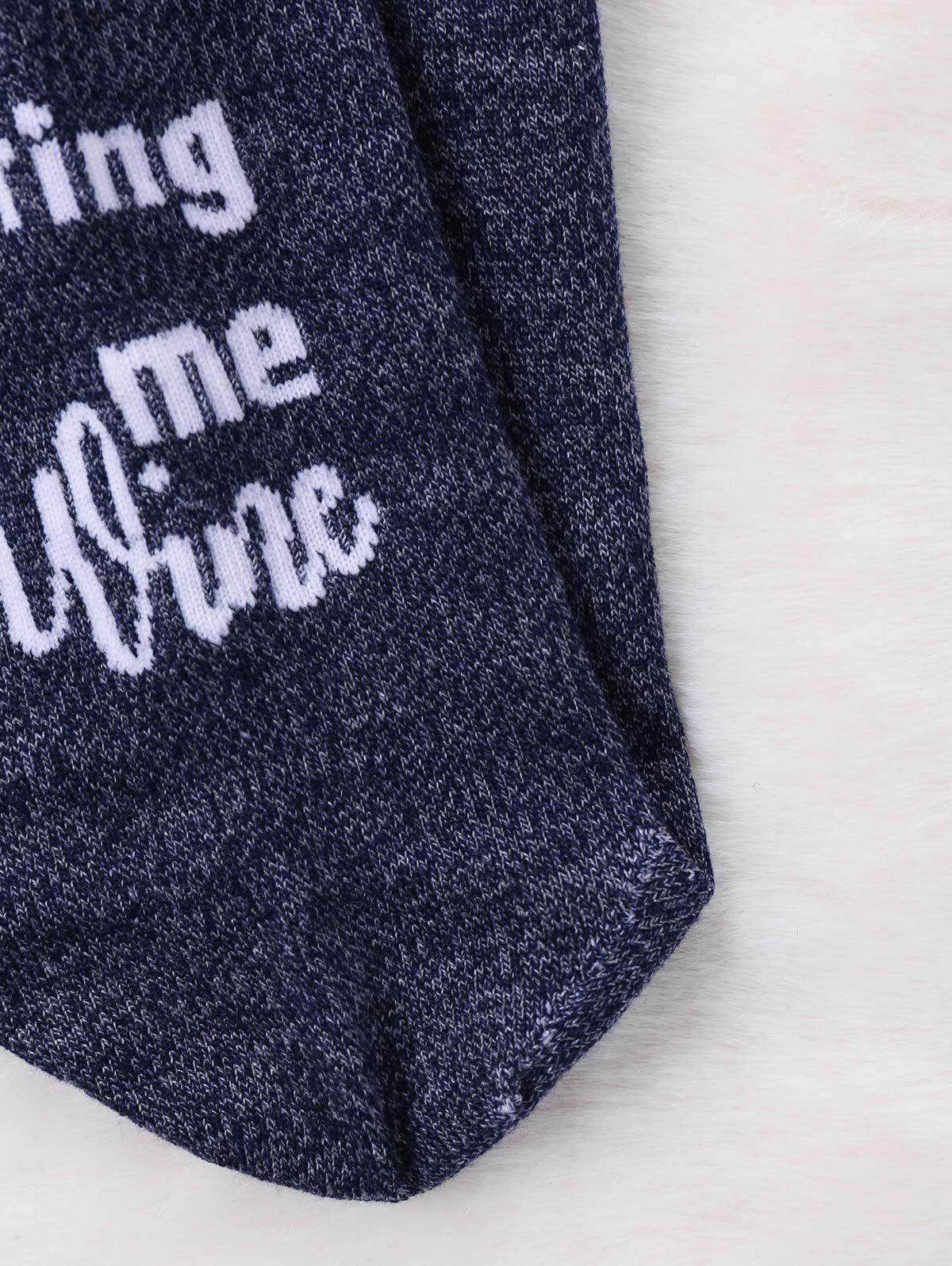 Graphic Letter Printed Crew Socks - DEEP GRAY