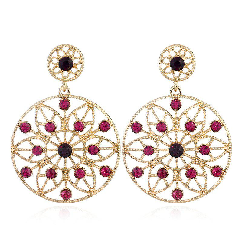 Hollow Out Faux Gem Metal Drop Earrings gold plated faux gem drop earrings