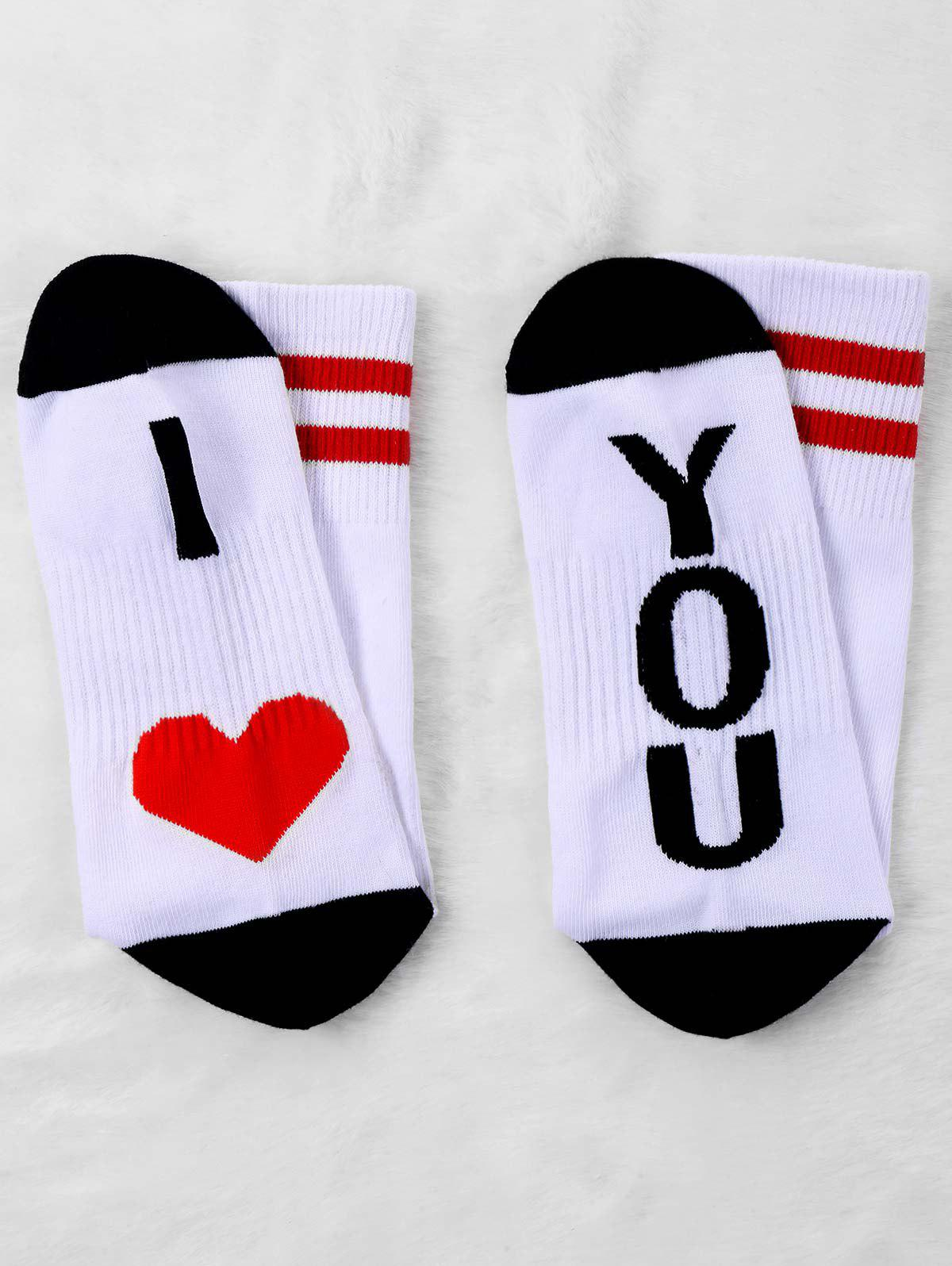 Pair Of Knitted Letter Print Graphic Socks -