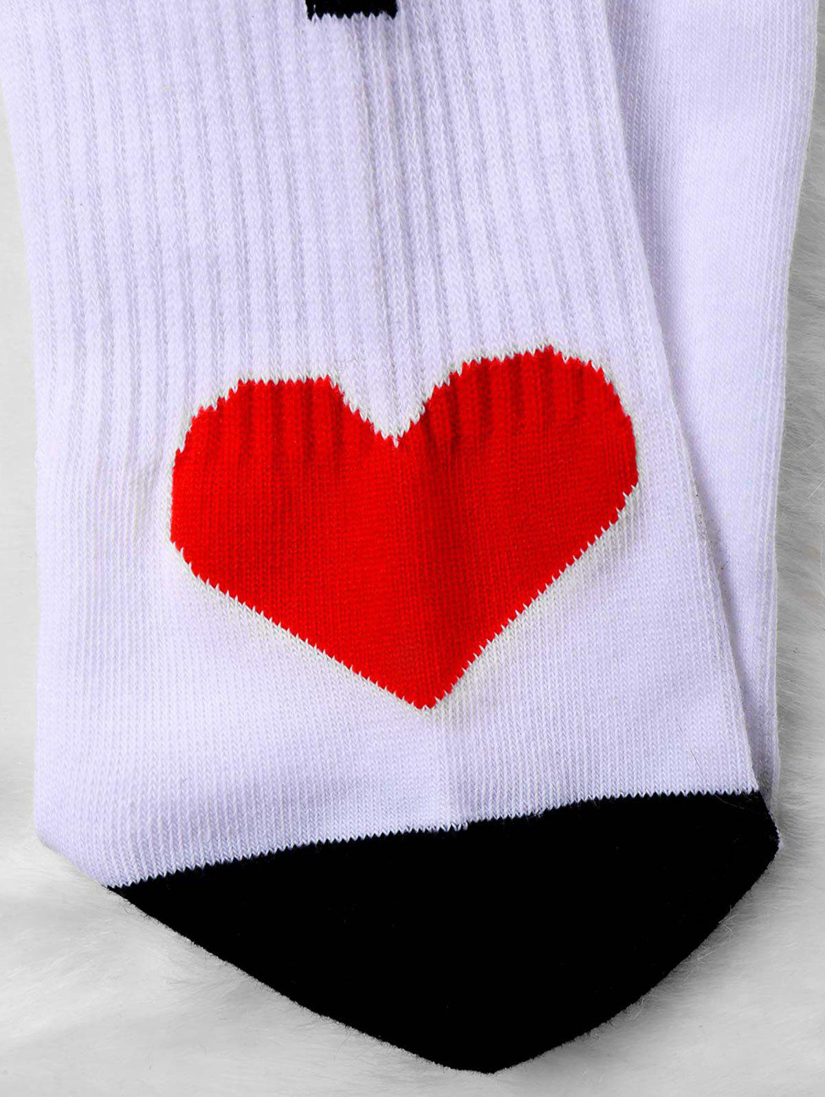 Pair Of Knitted Letter Print Graphic Socks - WHITE