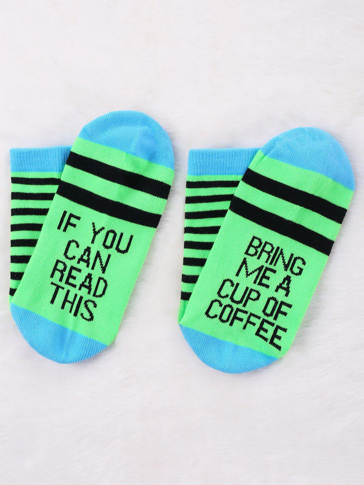 Pair Of Stripe Letter Print Graphic Socks - NEON GREEN